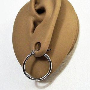 """1"""" 25mm Hoop Pierced Earrings Nickel Free Silver"""